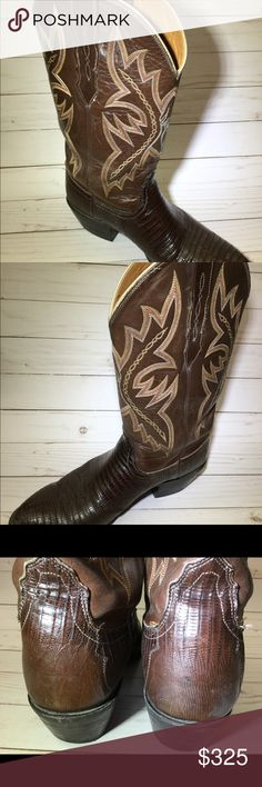 LUCCHESE 2000 COWBOY BOOTS Up for sale a beautiful pair of men's lizard western cowboy boots. Preowned, very good condition. Heels are worn. Size 10 D. Lucchese Shoes Cowboy & Western Boots