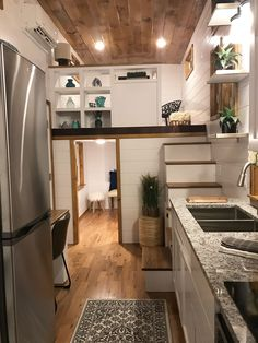 Movie Star by Incredible Tiny Homes is part of Tiny home Design - The Movie Star by Incredible Tiny Homes is a tiny house featuring a split loft area that can be used as a bedroom, living room, or office Best Tiny House, Modern Tiny House, Tiny House Living, Tiny House On Wheels, Tiny House Design, Small House Plans, Living Room, Tiny House Office, Maximize Small Space