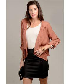 Muted Orange City Chic Cuffed Sleeve Jacket