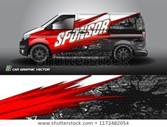 154a3dfcdb Cargo van Livery graphic vector. abstract racing shape with grunge  background design for vehicle vinyl wrap