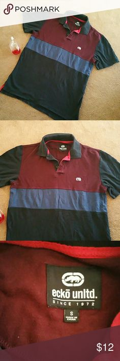 """ECKO UNLTD Pique Polo shirt Tshirt Great condition.  Ecko unltd. striped pique polo. Sz small. Under armpit to under armpit 19.5"""" Length from shoulder to end of top 26"""" Ecko Unlimited Shirts Polos"""