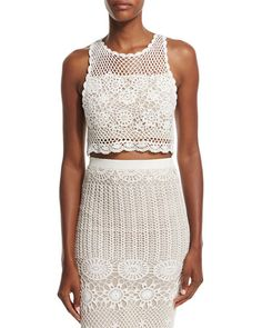 Izzie Sleeveless Crochet Crop Top, Cream (Ivory), Size: L - Alice + Olivia