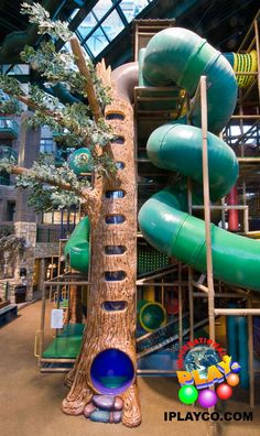 Tree Climb and large spiral slide- large themed indoor playground we designed, manufactured and installed for the City of Edina - Adventure Peak - contact us at sales@iplayco.com for a design for your business. #weBUILDfun