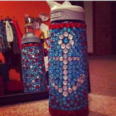 Rhinestoned water bottle #tsm sorority craft & I bought some cute water bottles at Dollar Tree and we decorated ...
