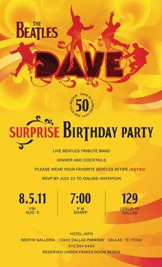 0-Beatles Birthday Party Invitation