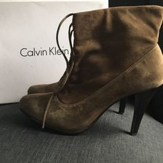 CALVIN KLEIN SUEDE BOOTIE HEELS😍 CALVIN KLEIN SUEDE BOOTIE HEELS/ brown gray in color, Literally worn once ! Mint condition ! Size 7 medium. Please ask if you need additional photos😀👍☀️ Calvin Klein Shoes Ankle Boots & Booties