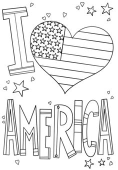 I Love America Coloring Page