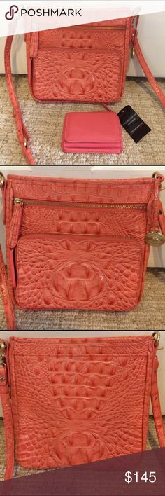 Brahmin Tilda Crossbody peach Bellini plus wallet Adorable purse has lots of pockets and a card organizer in the front outside zip pocket. Shoulder strap is adjustable. Comes with a compact trifold wallet! Brahmin Bags Crossbody Bags