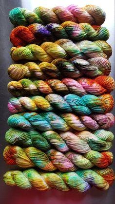 10 x Mini Skeins Hand Dyed Highland Wool Fearless Yarn Yarn Color Combinations, Roving Yarn, Yarn Inspiration, Afghan Crochet Patterns, Sock Yarn, Yarn Colors, Vintage Crochet, Lana, Fibre Art