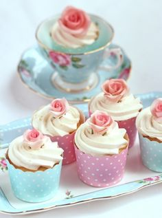 Cupcake served in a pretty tea cup.