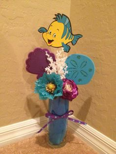 Hand Made Little Mermaid inspired ocean themed centerpiece Ariel, Flounder, Sebastian on Etsy, $35.00