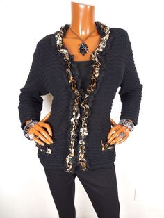 CHICO'S Womens Sz 2 M L Top Animal Lace Sweater Cardigan Blouse Casual Shirt Blk #Chicos #Blouse #Casual