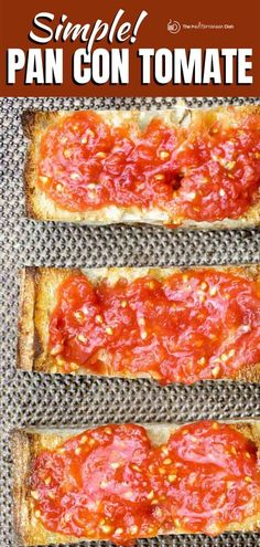 You'll fall in love with this easy Pan Con Tomato recipe, a simple Spanish tomato bread made with fresh tomatoes and garlic. A few tips make all the difference! Cookbook Recipes, Tea Recipes, Greek Recipes, Brunch Recipes, Mexican Food Recipes, Vegetarian Recipes, Brunch Ideas, Yummy Recipes, Mediterranean Appetizers