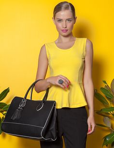 www.blanco.com Celine Luggage, Luggage Bags, Fall Winter 2014, Yellow Stripes, Peplum, Shopping, Tops, Style, Fashion