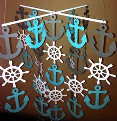 Nautical mobile, anchor mobile, Gray, white and teal anchor mobile