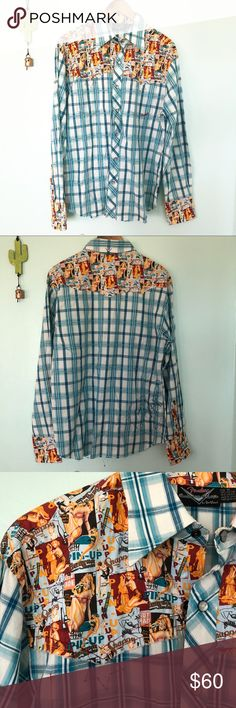 Pin Up Fender Men's Button Down Top NWOT Fender Men's Button Down Top with fun Pin Up design⭐️ Men's size M🌵   🎀Reasonable offers only please, no trades 🎀Price is FIRM when on FLASH SALE.    🎀Any questions? Ask!  🎀Zoom in on pictures!  🎀All my products are 100% authentic! Fender Shirts Casual Button Down Shirts