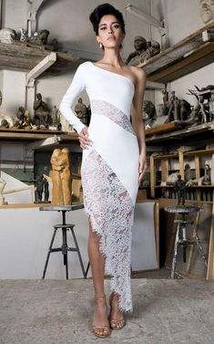 Shop One-Shoulder Crepe And Lace Midi Dress . Rasario's dress is an eloquent choice for upcoming obligations, from evening dinners to wedding parties. Elegant White Dress, Elegant Dresses For Women, White Mini Dress, White Lace, Nice Dresses, Evening Dresses, Prom Dresses, Formal Dresses, Wedding Dresses