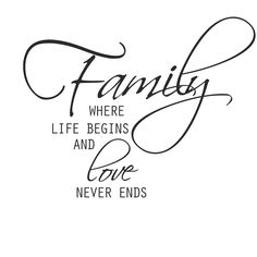 "Väggord med texten ""Family where life begins and love never ends ..."