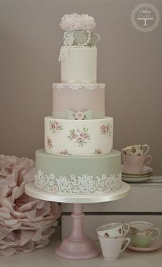 Whimsical Shabby chic tea party wedding cake.