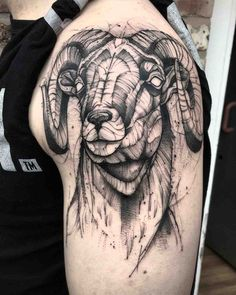 Aries Tattoo Designs for all the Aries People out there Bull Tattoos, Head Tattoos, Animal Tattoos, Black Tattoos, Black Sheep Tattoo, Widder Tattoos, Aries Ram Tattoo, Mangas Tattoo, Tattoo Henna