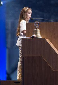 Ten-year-old Lucía Gómez García speaks at the second plenary session at the Rotary Convention in São Paulo, Brazil. Photo by Alyce Henson.