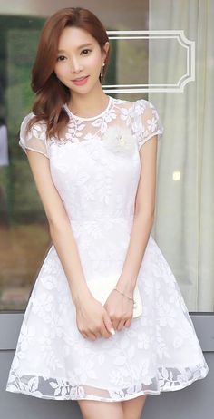 StyleOnme_See-through Floral Lace A-Line Dress #white #lace #korean #style…