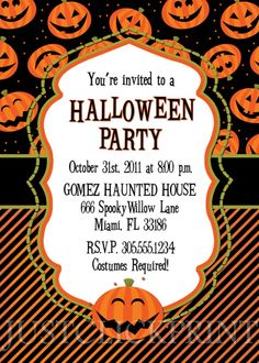 Party Invitations : Happy Pumpkins Halloween Party Invitations with Classic Frame and White Color complete with Black Note Wording - Printable Halloween Party Invitations Design Inspirations