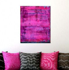 Impactful hot pink painting with blue/green undertones. Lots of color blending and clear neon pink to complete a very impactful painting. Pink Painting, Acrylic Painting Canvas, Paintings I Love, Paintings For Sale, Abstract Art For Sale, Abstract Painters, Color Blending, Color Splash, Neon
