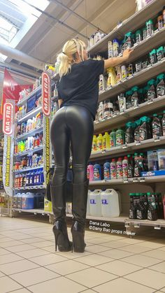 Leather leggings bottom boots in store