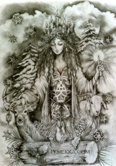 The Yule Goddess decked in Holly and Pine seems fitting on these cold, misty mornings and dark moonlit nights. Our fields and hedgerows are hidden beneath a blanket of snow and the forests are but stark reminders of the summer abundance. Pagan Yule, Wiccan, Magick, Witchcraft, Sabbats, Winter Solstice, Book Of Shadows, Christmas Art, Fantasy Art