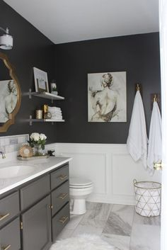 4 Good-Looking Clever Tips: Bathroom Remodel Dark Apartment Therapy bathroom remodel with window floors.Inexpensive Bathroom Remodel Tile mobile home bathroom remodel apartment therapy.Mobile Home Bathroom Remodel Apartment Therapy. Bathroom Renos, Bathroom Renovations, Bathroom Gray, Bathroom Storage, Bathroom Shelves, Remodel Bathroom, Decorating Bathrooms, Shower Remodel, Paint Bathroom