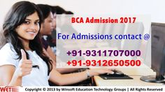 Get detailed information on MDU BCA Admission 2017 process, fee struture, scope of doing BCA, Job oppertunity after BCA, BCA Application form etc. Conntact @ 09312650500, 09311707000.