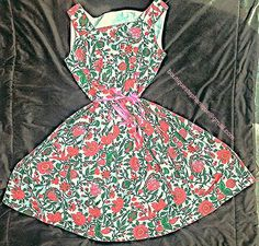 ABSOLUTELY TO DIE FOR 50's full circled floral dress  GREENS AND PINKS tailored made and one of a kind!  Get noticed.  Size is large and made with extremely heavy linen.  $250.00 reach out to me for purchase or if you have question see email address across pic.