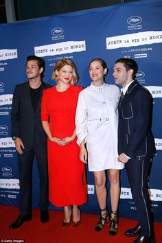 Chic: The film star posed alongside her co-star Gaspard Ulliel, Marion, and…