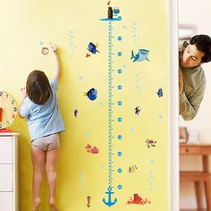 colorful fishies Cartoon kids Wall stickers kid room cartoon child height measure wall stickers decals vinyl Adhesive home decor ** More info could be found at the image url. #HomeDecor