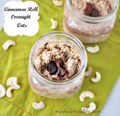 Cinnamon Roll Overnight Oats.  The taste of a cinnamon roll in your morning oatmeal.  This stuff is way better than those packets and it requires no cooking! #vegan #glutenfree #oatmeal #overnightoats #oatsinajar #breakfast