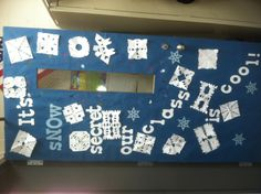 "Winter classroom door-but great inspiration using the word ""snow"""