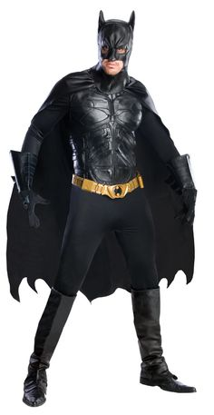 Just like the costume shown in the movie The Dark Knight Rises! Spandex jumpsuit, molded chest piece, belt, cape, gloves, headpiece and boot tops