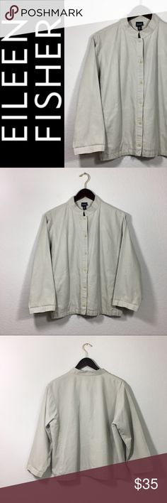 Eileen Fisher Khaki Mandarin Collar Jacket ✔️100% Cotton ✔️Front Slit Pockets ✔️Mandarin Collar Styling ✔️Button Down Front ✔️Excellent Used Condition Eileen Fisher Jackets & Coats