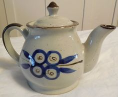 Vintage Ceramic Teapot 6 Tall, Speckled Glaze Teapot with Hand painted Blue Floral Design  Stoneware looking ceramic teapot with hand painted