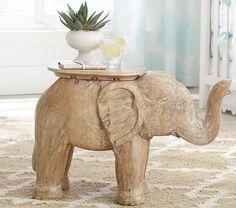 "Elephant Side Table. 27"" wide x 12"" deep x 18.5"" high"