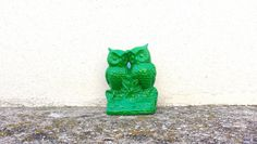Green Owl Figurine // Green Statue Vintage Owl by CurrentClassic, $17.00
