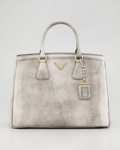 Large Double-Shoulder Tote, Gray by Prada at Neiman Marcus.