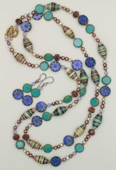 Paper Beads, Freshwater Pearls and Czech Glass Beads Long Necklace and Earrings Set