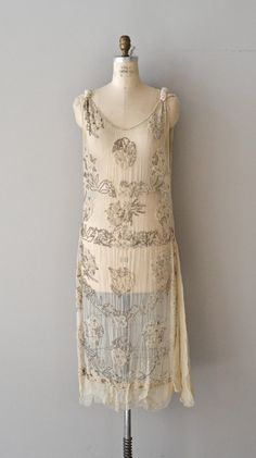 French vintage 1920s beaded tabard dress.