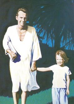 A touching painting of Paul Mitchell and Angus Mitchell in Hawaii #IHEARTPM #PAULMITCHELL