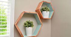 etagere en bois murale forme cube hexagone turquoise