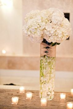 Hydrangea Centerpiece- Love how the ribbon wrap at top hides the stems!