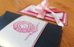Navy Blue and Pink Invitation Suite: Invite, RSVP, Reception Cards... Glitter Cardstock, Satin Ribbon, and Rhinestone Embellishments Handcrafted Photo Credits: J Luxe Designs, LLC