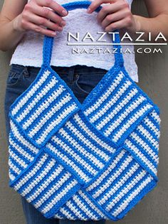 Free Pattern - Crochet Weaved Purse Tote Bag.  I can see this in red and white for Indiana bball
